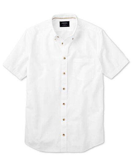 Classic fit short sleeve white shirt