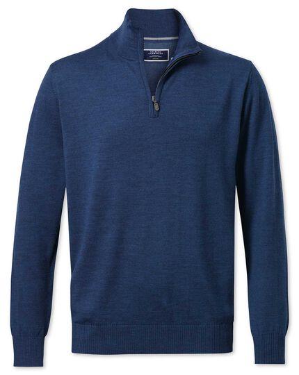 Mid blue merino wool zip neck jumper