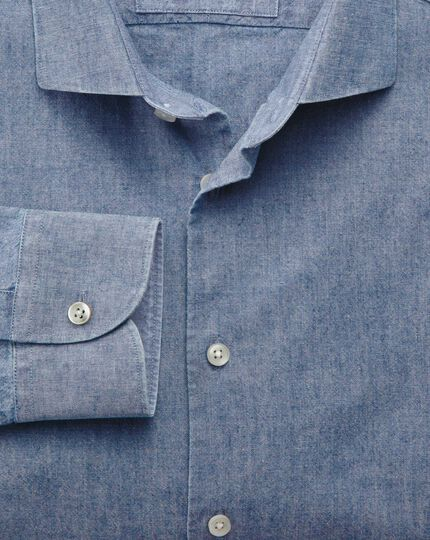 Slim fit semi-spread collar business casual chambray mid blue shirt