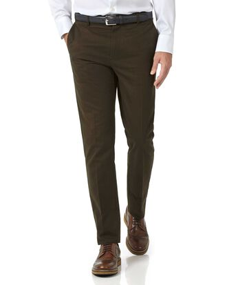 Brown extra slim fit flat front non-iron chinos