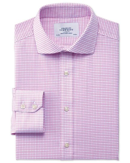 Extra slim fit cutaway collar non-iron dobby check pink shirt