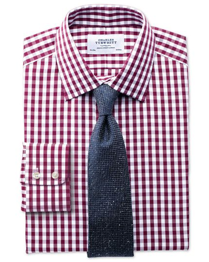 Slim fit non-iron Oxford gingham berry shirt