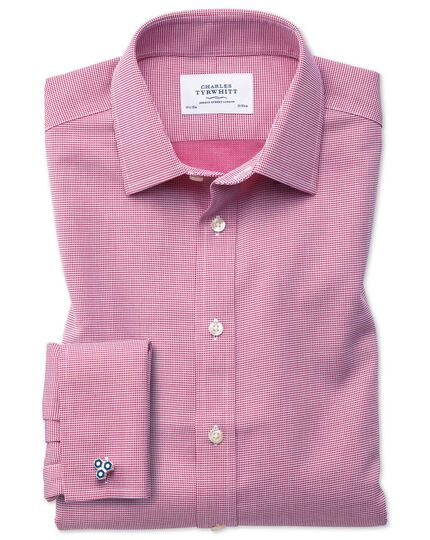 Slim fit non-iron square weave magenta shirt