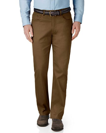 Brown classic fit stretch pique 5 pocket trousers
