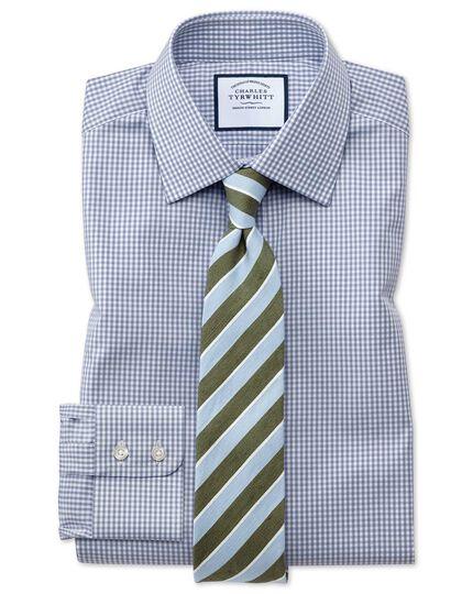 Slim Fit Hemd mit kleinen Gingham-Karos in Grau