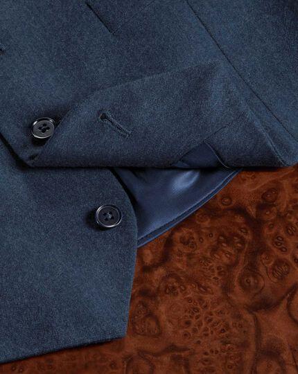 Blue adjustable fit twill business suit waistcoat