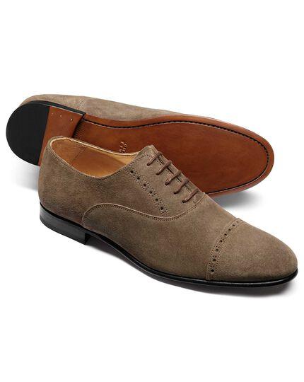 Budapester Oxford-Schuhe aus Veloursleder in Taupe
