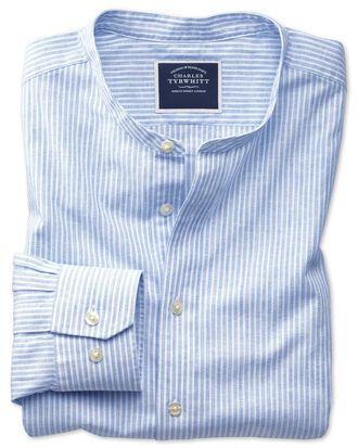 Slim fit collarless blue and white stripe shirt