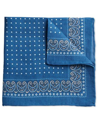 Royal and white linen spot border classic pocket square