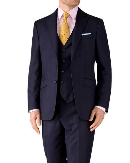 Navy classic fit birdseye travel suit jacket
