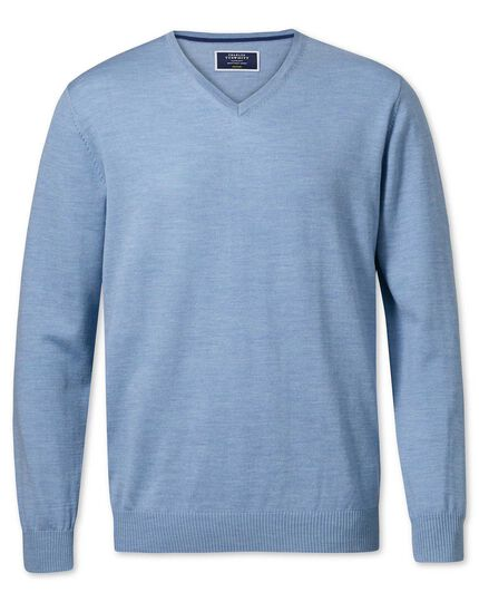 Sky merino wool v-neck sweater