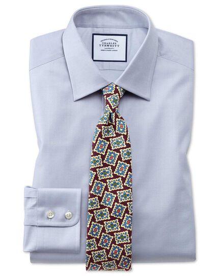 Slim Fit Hemd aus ägyptischer Baumwolle mit Gitterstruktur in Grau