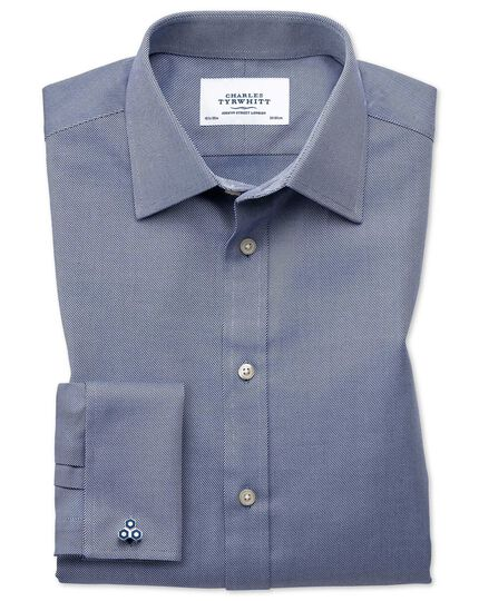 Classic fit Egyptian cotton cavalry twill navy blue shirt