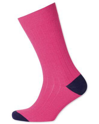 Pink ribbed socks