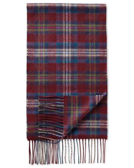 Multi plaid cashmere and merino scarf