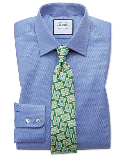 Slim Fit Hemd aus ägyptischer Baumwolle mit Gitterstruktur in Mittelblau