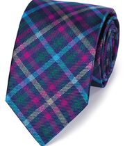 Blue and pink silk multi check English luxury tie