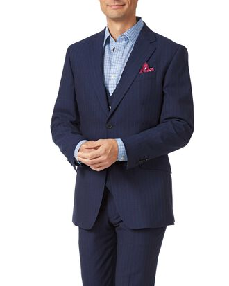 Navy slim fit Panama stripe business suit
