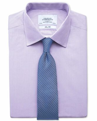 Slim fit fine stripe lilac shirt