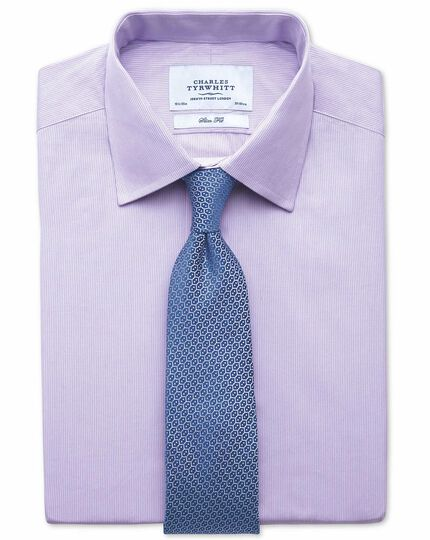 Chemise lilas slim fit à rayures fines
