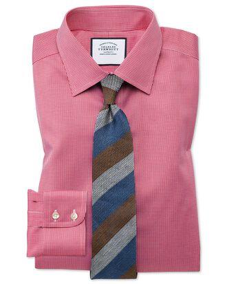 Bügelfreies Classic Fit Hemd mit Hahnentrittmuster in kräftigem Rosa