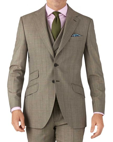 Beige slim fit British Panama luxury check suit jacket