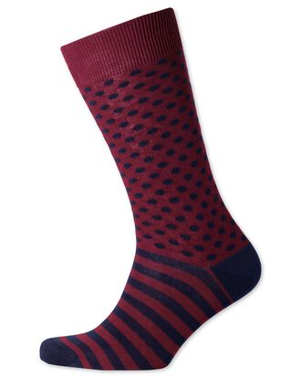 Burgundy and navy spot and stripe socks