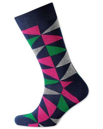Chaussettes vertes et roses à triangles multicolores