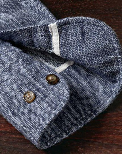 Slim fit slub cotton blue and white shirt
