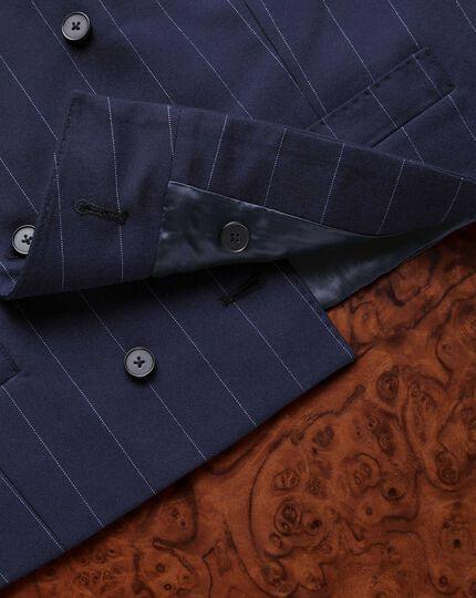 Navy stripe British serge luxury suit waistcoat