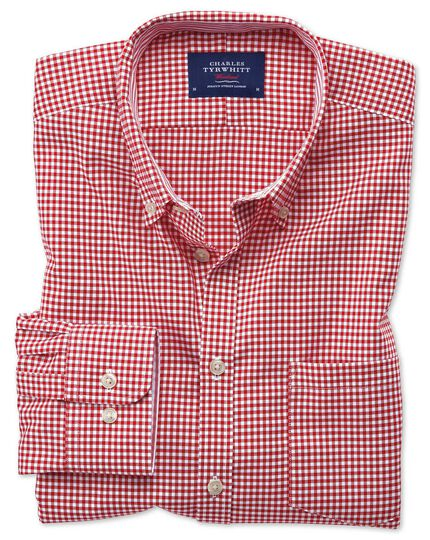 Bügelfreies Slim Fit Oxfordhemd in Rot mit Gingham-Karos