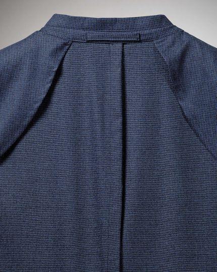 Slim fit blue puppytooth Italian wool flannel blazer