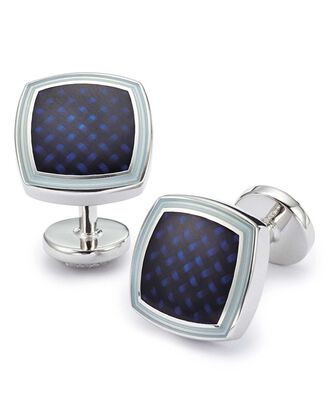 Navy enamel basketweave square cuff links