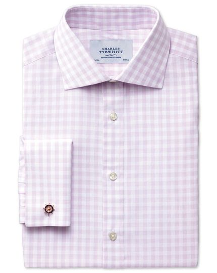 Classic fit semi-cutaway collar textured gingham lilac shirt