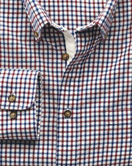 Slim fit burgundy and blue check brushed dobby shirt
