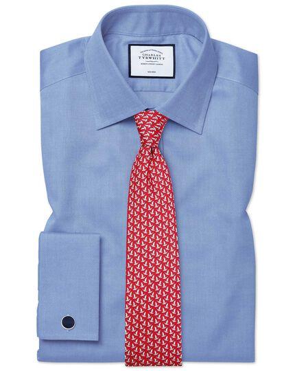 Slim fit non-iron royal Panama blue shirt