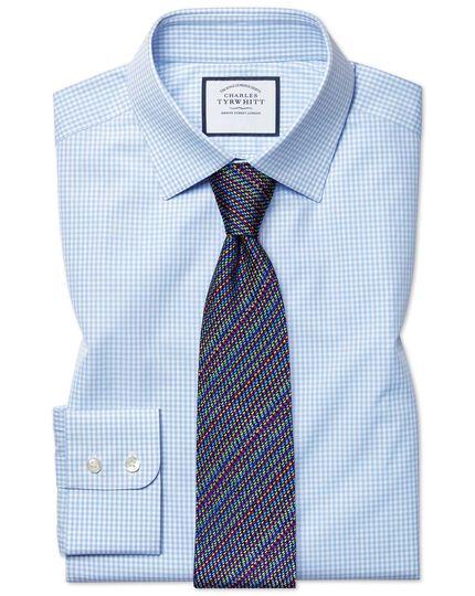 Slim fit small gingham sky blue shirt