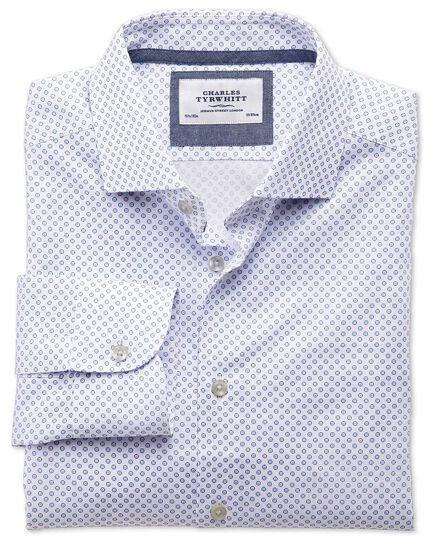 Classic fit semi-cutaway collar business casual blue and pink circle print shirt