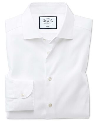 Extra slim fit semi-spread collar business casual non-iron modern textures white shirt