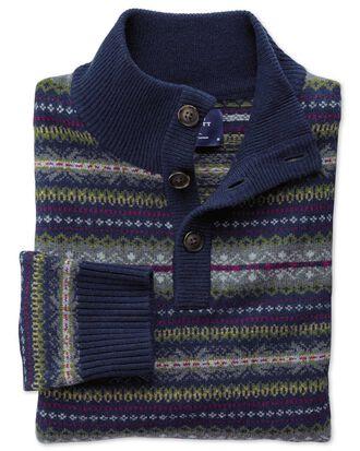 Navy multi fairisle button neck jumper
