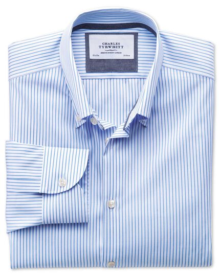 Slim fit button-down collar non-iron business casual white and sky blue striped shirt