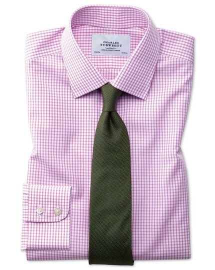 Bügelfreies Classic Fit Hemd in Rosa mit Gitterkaro