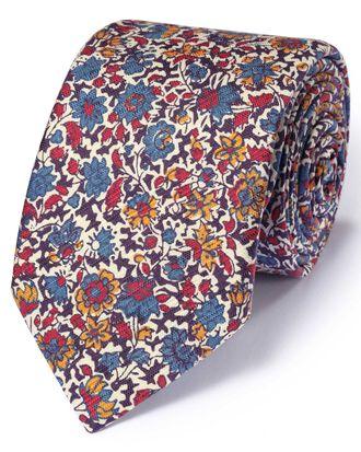 Multi cotton mix printed floral Italian luxury tie