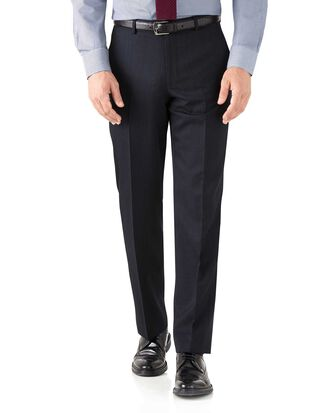 Pantalon de costume business bleu marine avec motif milleraies et coupe droite
