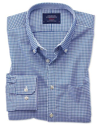 Slim fit button-down non-iron Oxford gingham royal blue shirt