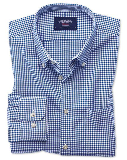 Extra slim fit button-down non-iron Oxford gingham royal blue shirt