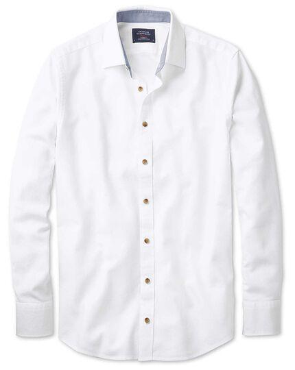 Slim Fit Hemd in gewaschenem Weiß mit Struktur