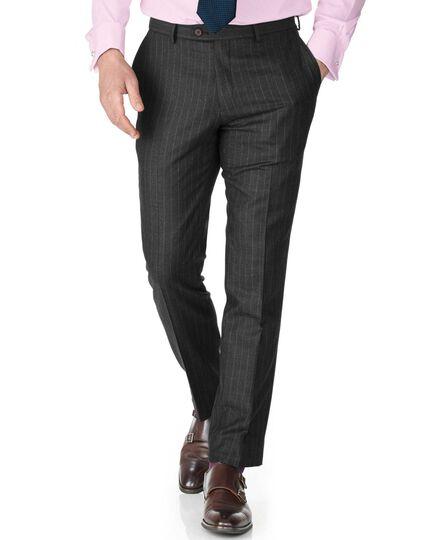 Charcoal slim fit saxony business suit trousers