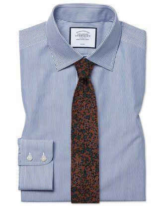 Slim fit non-iron Bengal stripe navy blue shirt