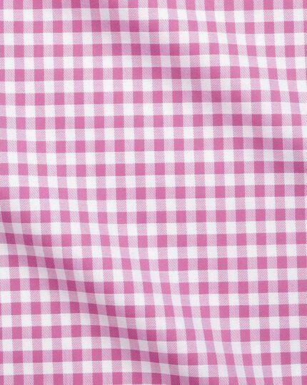 Slim fit non-iron gingham pink shirt